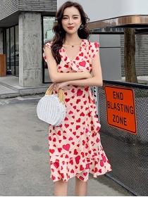 Hot Selling V-neck Hearts Flouncing Slim Tank Dress
