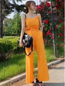 Summer New Tie High Waist Wide-leg Two Pieces Suits