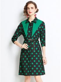 Retro Wholesale Shirt Collar Belt Waist Dots A-line Dress