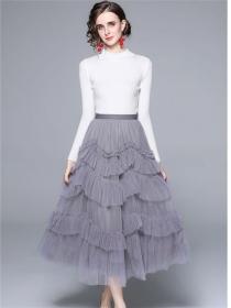 Autumn New Knitting Tops with Layered Flouncing Gauze Skirt