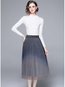 Europe Grace Knitting Tops with Pleated Gauze A-line Skirt