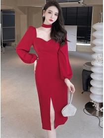 Wholesale Korea 2 Colors Square Collar Puff Sleeve Slim Dress