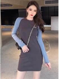 Wholesale Korea Color Block Zipper Collar Slim Knitting Dress